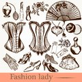Vector Fashion Lady Set Accessories Clothiers Royalty Free Stock Image - 54490276