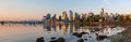 Vancouver BC Skyline From Stanley Park At Sunrise Panorama Stock Images - 54492444