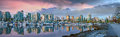 Vancouver BC Skyline At Stanley Park During Sunrise Panorama Stock Photography - 54492692