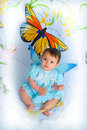 Baby Girl With Butterfly Wings Stock Photography - 5452212
