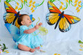 Baby Girl With Butterfly Wings Stock Photos - 5452363