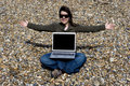 Young Woman With Laptop Computer In Beach Stock Photography - 5457992