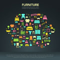 Flat Home Furniture Icon Design In A Sofa Shape Royalty Free Stock Photo - 54515455