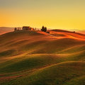 Tuscany, Sunset Rural Landscape. Rolling Hills, Countryside Farm Stock Photography - 54517052