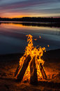 Bonfire On The Beach Sand Stock Images - 54533234