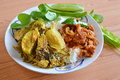 Stir Fried Wild Boar With Red Curry And Fish Curry With Eggplant Stock Image - 54534101