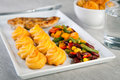 Golden Duchess Potatoes With Grilled Chicken And Mexican Vegetables Royalty Free Stock Photography - 54540277