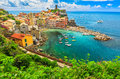 Colorful Boats In The Bay,Vernazza,Cinque Terre,Italy,Europe Royalty Free Stock Photo - 54547335