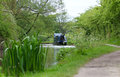 Narrow Boat Moored On Tow Path Royalty Free Stock Image - 54558416