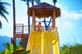 Happy Father And Son Are Ready To Slide In Tropical Aqua Park Royalty Free Stock Photo - 54559575