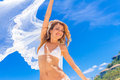 Young Beautiful Happy Bride In White Bikini Holding Flower Bouqu Royalty Free Stock Image - 54564676
