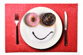 Smiley Happy Face Made On Dish With Donuts Eyes And Chocolate Syrup As Smile In Sugar And Sweet Addiction Nutrition Royalty Free Stock Photo - 54588765