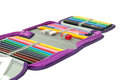 PENCIL BOX FULL WITH COLORFUL PENCILS AND MARKERS Stock Images - 54604364