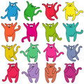 Sixteen Thick Funny Cats Stock Photography - 54609642