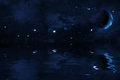 Starry Night Sky With Halted Moon Over Sea, Bright Stars And Blue Nebula Royalty Free Stock Photo - 54627785
