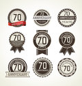 Anniversary Retro Label Collection 70 Years Royalty Free Stock Images - 54650319