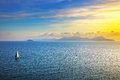 Elba Island Sunset View From Piombino An Sail Boat. Mediterranea Royalty Free Stock Photography - 54653987