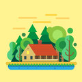 House In  Forest, Summer Landscape Stock Photo - 54666030