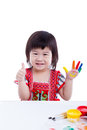 Adorable Little Asian (thai) Girl Painting Her Palm, Isolated On Royalty Free Stock Image - 54666266