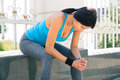 Sporty Woman Resting After Running Outdoors Royalty Free Stock Image - 54674096