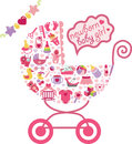 Newborn Baby Girl Icons In Form Of Carriage Stock Image - 54677701