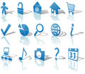 Web Blue Icons Set Shadows & Reflections Angled 1 Stock Images - 5470164