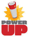 Power Up Sign With Battery Energy Burst Stock Images - 54702484