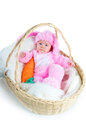 Funny Newborn Baby Dressed In Easter Bunny  Suit Royalty Free Stock Image - 54703976