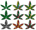 Cannabis Marijuana Ganja Decorative Style Leaf Symbol  Illustration Royalty Free Stock Photos - 54722288
