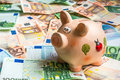 Piggy Bank In A Pile Of Euro Money Royalty Free Stock Image - 54732256