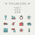 Business Shopping Thin Line Icon Set Stock Photography - 54742302