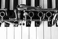 Fragment Of The Clarinet On The Keyboard Of The Piano Stock Image - 54753081
