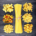 Mix Of Pasta On Wood Royalty Free Stock Image - 54758366