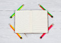 Open Notebook With Newly Sharpen Pencils On White Desktop Stock Photo - 54759430