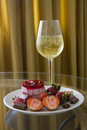 Plate Of Strawberry Dessert And Champagne Stock Photos - 54761333