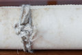 Old Scroll Paper On Wooden Background. Close Up Of Rope Stock Photos - 54792163