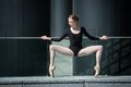 Young Graceful Ballerina In Black Bathing Suit On Stock Images - 54796884