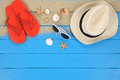 Beach Scene In Summer On Vacation With Shells, Copyspace Royalty Free Stock Image - 54798866