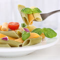 Italian Cuisine Eating Colorful Penne Rigate Noodles Pasta Meal Royalty Free Stock Image - 54800566