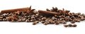 Scattered Coffee Beans In Line On White Stock Image - 54804561