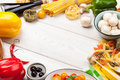 Italian Food Cooking Ingredients. Pasta, Vegetables, Spices Stock Image - 54805011