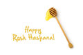 Jewish New Year Holiday Greeting Card Design With Honey Wooden Stick Royalty Free Stock Photo - 54825905
