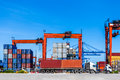 Landscape Of Truck, Containers And Crane At Trade Port Stock Photo - 54826830