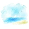 Vector Background Of A Watercolor Seascape Royalty Free Stock Photography - 54835577