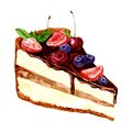 Watercolor Piece Of Chocolate Cake Stock Images - 54836674