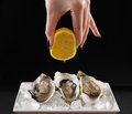 Girl Hand, Three Oyster Shell With Lemon Juice Stock Images - 54842444