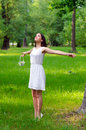 Beautiful Girl Enjoying Sunny Spring Day In Forest Stock Photos - 54849003