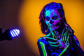 Skeleton Bodyart With Blacklight Stock Images - 54850874