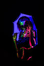 Skeleton Bodyart With Blacklight Royalty Free Stock Images - 54851669