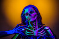 Skeleton Bodyart With Blacklight Royalty Free Stock Photos - 54852548